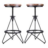 Set of 2 Industrial Bar Stool,Vintage Adjustable Swivel Stool,Wood Metal Stool,Rustic Farmhouse Bar Stool,Counter Height-Pub Height,Extra Tall Stool,Cast Iron,24-30 Inch,Backless,Fully Assembled