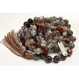Certified Energized Mala Beads Necklace with COA - Chakra Mala - Japa Mala - 8mm 108 Buddhist Prayer Beads - Meditation Mala - Tassel Necklace – Zodiac/Sun Sign Stones (Botswana Agate)