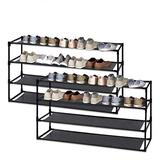 Jerry & Maggie - 4 Tier Steel Shoe Rack Shelf with One Drawer Clothes Rack Shoe Storage Shelves Free Standing Flat Racks Classic Style - Multi Function Shelf Organizer | 2 Unit Pack