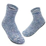 Womens Slipper Socks with Rubber Sole Fuzzy Sock Slippers Non-Slip Cozy Casual Sock Shoes Gift (M,Thick Blue)