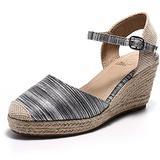 Alexis Leroy Women's Closed Toe Buckle Strap Slingback Espadrilles Wedge Sandals Black 9.5 B(M) US