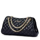 LAORENTOU Quilted Handbags for Women Cowhide Leather Shoulder Bags for Women Pillow-shape Purses Chain-strap Black