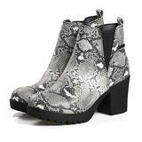 Women's Block Chunky Heel Ankle Booties Slip on Platform Boots Zipper up High Heel Chelsea Boots Snake 8