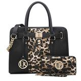 DS COLLECTION Multi Pockets Satchel for Women Designer Lady Spring Handbags and Purses Wallets Shoulder Bags Tote Work Briefcase (0- Leopard/Black)