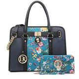 DS COLLECTION Multi Pockets Satchel for Women Designer Lady Spring Handbags and Purses Wallets Shoulder Bags Tote Work Briefcase (0- Blue Flower/Navy)