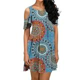 Koscacy Dress with Pockets for Women, Ladies Tee Shirt Dresses Summer Casual Cold Shoulder Tunic Dress Girls Round Neck Paisley Sundress Flowing Cotton Chic Classic Fiesta Travel Shirt Dress Green M