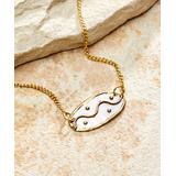 Anju Women's Necklaces - Tri-Tone Polka Dot & Wavy Line Oval Pendant Necklace