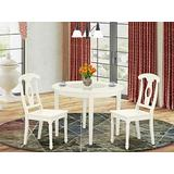 East West Furniture Round Kitchen Table Set 3 Pc - Wooden Kitchen Dining Chairs Seat - Linen White Finish Dinner Table and Body