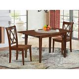 3PC Rectangular 42/53.5 inch Table with 12 In Leaf and 2 Double X back Chairs