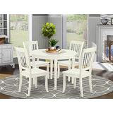 East-West Furniture 5-Pcs dining set 4 Excellent dining room chairs - A Attractive round wooden dining table Wooden- Linen White wood dining table