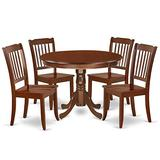 East West Furniture 5-Pc Dining Room Table Set Included a Round Kitchen Table and 4 Wood Dining Chairs - Solid Wood Kitchen Chairs Seat & Slatted Back - Mahogany Finish