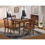 5PC Rectangular 42/53.5 inch Table with 12 In Leaf and 4 Double X back Chairs