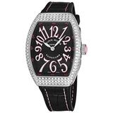 Franck Muller Vanguard Diamond Womens Swiss Quartz Watch - Tonneau Black Face with Luminous Hands and Sapphire Crystal - Black Leather/Rubber Strap Ladies Watch V 32 SC at FO D