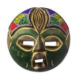 Recycled plastic beaded African wood mask, 'Green Face'