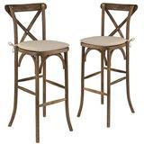 Flash Furniture 2 Pk. HERCULES Series Dark Antique Wood Cross Back Barstool with Cushion