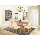 7Pc Oval Dining Room table with linen beige fabric Parson chairs with oak chair legs