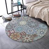 LEEVAN Round Wool Area Rug 3 ft Traditional Throw Runner Rug Non-Slip Backing Soft Wool Floor Carpet for Sofa Living Room Bedroom Modern Accent Home Decor