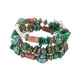 Novadab Women's Bracelets - Green & Two-Tone Beaded Coil Bracelet