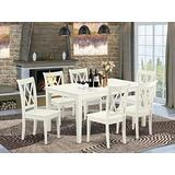 East West Furniture 7PC Rectangular 60 inch Table and 6 Double X back Chairs, Linen White
