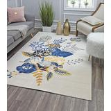 """Rugs America Area Rug, 2'0""""X4'0"""", Floral Charm Ivory Gold"""