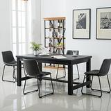 Roundhill Furniture Bronco Antique Wood Finished Dining Set: Table and Four Chairs, Grey, Gray