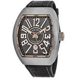 Franck Muller Vanguard Mens Titanium Swiss Made Automatic Watch - Tonneau Grey Dial with Luminous Hands, Date and Sapphire Crystal - Black Leather/Rubber Strap V 45 SC DT TT BR 5N