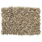 HF by LT Handwoven Leather Shag Rug, 27 x 45 inches, Buff