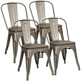 Metal Dining Chairs with Wood Seat, Tolix Style Indoor-Outdoor Stackable Industrial Chair with Back Set of 4 for Kitchen, Dining Room, Bistro and Cafe (Gun)