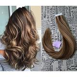 """20"""" Tape in Extensions Remy Human Hair Extensions Brazilian Remy Hair Glue in Real Human Hair Extensions #4 Medium Brown highlighted with #27 Strawberry Blonde for Party 50g/20pcs(#4/27)"""