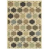 Ebern Designs Larson Handmade Golden Beige Rug Polypropylene in White, Size 154.0 H x 118.0 W x 0.39 D in | Wayfair