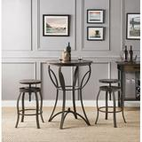 Millwood Pines Corrigan 3 Piece Counter Height Dining Set Wood/Metal in Brown/Gray, Size 36.0 H x 48.0 W x 48.0 D in   Wayfair