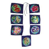 World Menagerie Handmade Ethnic Petals Batik Rayon Wall Hanging in Blue/Green/Pink, Size 13.5 H x 13.5 W in | Wayfair
