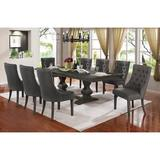 Lark Manor™ Glendale Heights 9 - Piece Extendable Dining Set Wood/Upholstered Chairs in Brown/Gray, Size 30.0 H in | Wayfair
