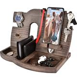 BarvA Wood Docking Station Tray Cell Phone Smartwatch Holder Men Charging Accessory Nightstand Father Mobile Base Gadget Organizer Dresser Wallet Storage Anniversary Birthday Graduation Gift