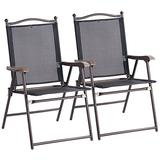 Giantex Set of 2 Patio Folding Chairs, Sling Chairs, Indoor Outdoor Lawn Chairs, Camping Garden Pool Beach Yard Lounge Chairs w/Armrest, Patio Dining Chairs, Metal Frame No Assembly, Black