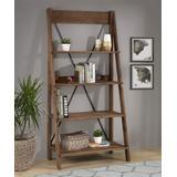 Walker Edison Bookcases & Bookshelves Brown - Brown Solid Wood Ladder Bookcase