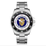 Mens for Police Fans Luxury Watches Rotatable Bezel Quartz Silver Tone Stainless Steel Watch Police Lieutenant Badge Custom Wristwatch (Black)