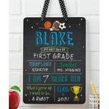 Personalized Planet Chalkboards Black - Sports School Year Dry-Erase Personalized Wall Sign