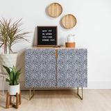 East Urban Home Little Arrow Design Co Arcadia Herringbone Accent Cabinet Wood in Brown, Size 38.0 H x 31.0 W x 20.0 D in | Wayfair