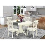 East West Furniture dining room table set 4 Great wood dining chairs - A Lovely round wooden table- Linen White Color Wooden Seat Linen White Butterfly Leaf dinner table