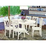 East West Furniture Kitchen table set 6 Excellent wood chairs - A Lovely wood dining table- Linen White Color Wooden Seat Linen White Butterfly Leaf mid-century dining table