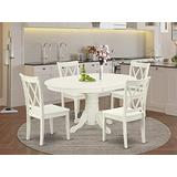 East West Furniture Kitchen table set 4 Excellent dining room chairs - A Beautiful modern dining table- Linen White Color Wooden Seat Linen White Butterfly Leaf round dining table