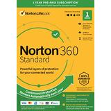 Norton 360 Standard 2021 - Antivirus Software for 1 Device with Auto Renewal - Includes VPN, PC Cloud Backup & Dark Web Monitoring Powered by LifeLock [Key Card]