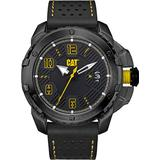 CAT Construct Black Men Watch, 48 mm case, Black face, Date Display, Black Stainless Steel case, Black/Yellow Leather Strap, Black/Yellow dial (DW.161.34.131) (Black/Yellow)