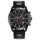 Fashionwu Men Sport Quartz Clock Watches 3 Eyes Luxury Silicone Strap Casual Military Watch Black Dial Black Shell Black Belt