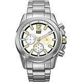 CAT Twist Up Multi Silver Men Watch, 42.5 mm case, White face, Stainless Steel case, Stainless Steel Strap, White/Yellow dial (YU.149.11.237) (Silver)