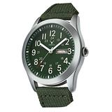 Mens Quartz Waterproof Calendar Watch Fashion Sports Casual Military Nylon Strap Swimming Business Watch (Green)