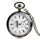 Vintage Pocket Watch Silver Transparent Skeleton Gear Pocket Watches Mechanical Hand Wind Watch Pocket Watch Chain