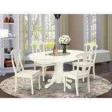 East West Furniture Dinette set 4 Excellent kitchen dining chairs - A Wonderful round kitchen table- Linen White Color Wooden Seat Linen White Butterfly Leaf wood kitchen table