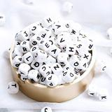 Promise Babe 52PCS 12MM Silicone Beads in 26 Letters DIY Chewable Beads Baby Nursing Necklace Bracelet Jewelry Accessory